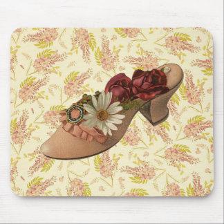Zapato floral del Victorian del vintage Tapete De Ratones