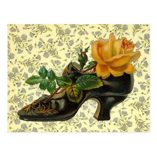 Zapato floral del Victorian del vintage Tarjeta Postal