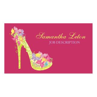 Zapato floral moderno elegante de la bomba del tac tarjetas de visita