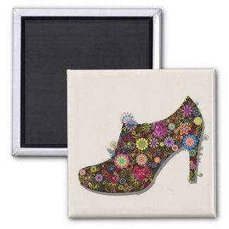 Zapato hermoso de la flor y del pájaro retro imán cuadrado