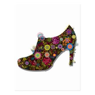 Zapato hermoso de la flor y del pájaro retro tarjeta postal