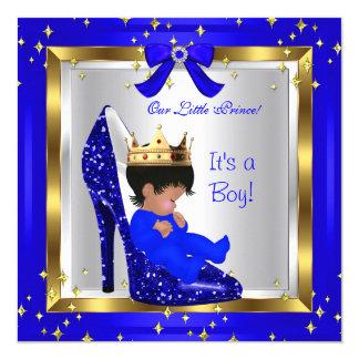 """Zapato lindo 4 del príncipe azul real del muchacho invitación 5.25"""" x 5.25"""""""