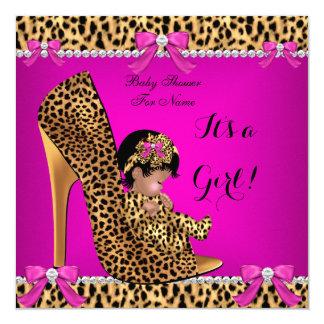 """Zapato lindo C de las rosas fuertes del leopardo Invitación 5.25"""" X 5.25"""""""