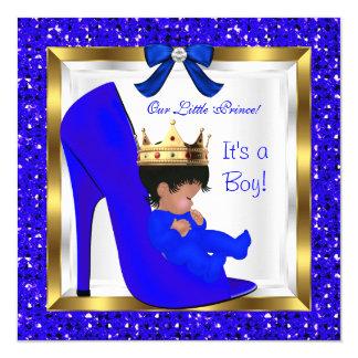 Zapato lindo del príncipe azul real del muchacho invitación 13,3 cm x 13,3cm