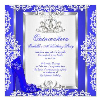 """Zapato mágico del azul real del décimo quinto invitación 5.25"""" x 5.25"""""""