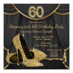 """Zapato negro del oro que camina en fiesta de invitación 5.25"""" x 5.25"""""""