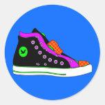 zapato pegatina redonda
