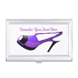 Zapato púrpura del tacón alto caja de tarjetas de visita