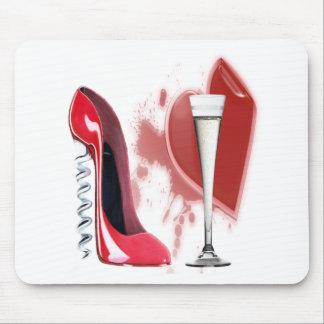 Zapato rojo, Champán y corazón del estilete del sa Alfombrillas De Ratón