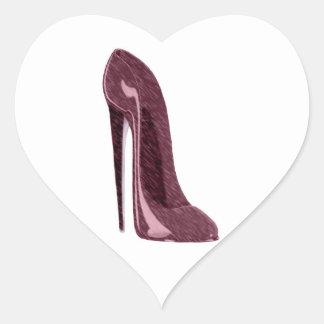 Zapato rojo de rubíes brillante del estilete pegatina en forma de corazón