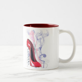 Zapato rojo del estilete del sacacorchos taza de café