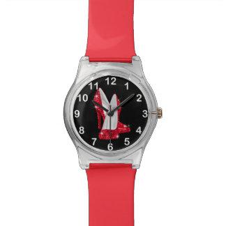 Zapato rojo del tacón alto del encanto del brillo relojes de mano