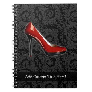 Zapato rojo descarado libreta espiral
