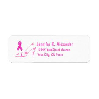 Zapato rosado del cáncer de pecho de la cinta etiquetas de remite