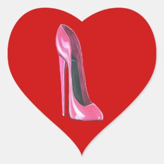 Zapato rosado del estilete pegatina en forma de corazón