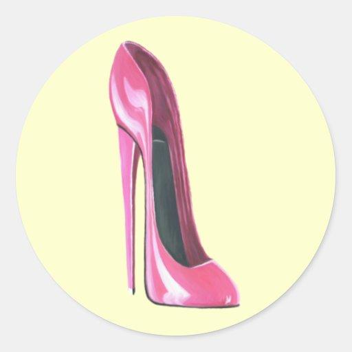 Zapato rosado del estilete pegatina redonda