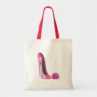 Zapato rosado del estilete y arte color de rosa ro bolsas lienzo