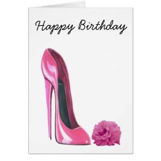 Zapato rosado del estilete y arte color de rosa tarjeta de felicitación