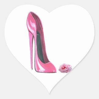 Zapato rosado del estilete y pegatina color de ros