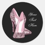 Zapato rosado elegante del tacón alto del brillo etiquetas redondas