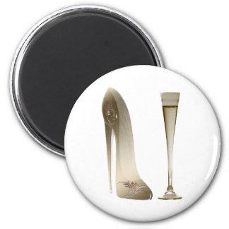 Zapato y Champán del estilete Imán Redondo 5 Cm