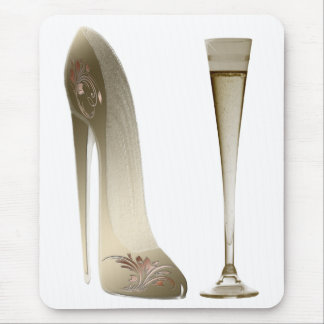 Zapato y Champán del estilete Tapete De Ratón
