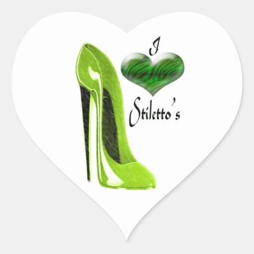 Zapato y corazón del estilete de la cal del amor pegatina en forma de corazón