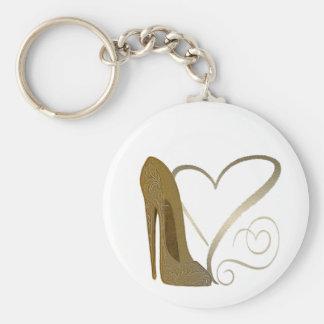 Zapato y corazones del estilete del vintage del am llavero redondo tipo pin
