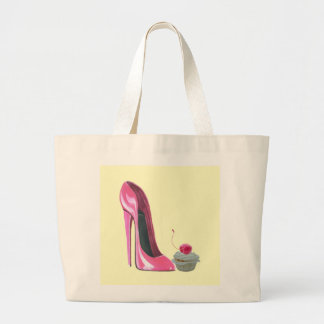 Zapato y magdalena rosados del estilete bolsa lienzo