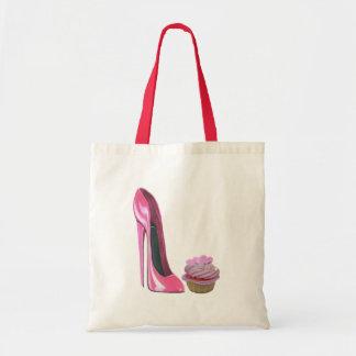 Zapato y magdalena rosados del estilete bolsas de mano