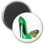 Zapato y mariposa del estilete del verde esmeralda iman
