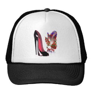Zapato y ramo negros del tacón alto del estilete gorra