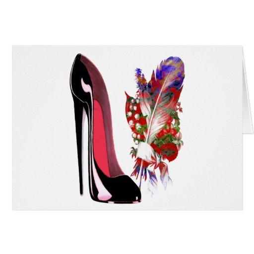 Zapato y ramo negros del tacón alto del estilete tarjetas