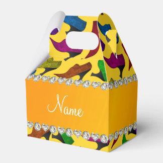 Zapatos amarillos conocidos personalizados del cajas para detalles de boda