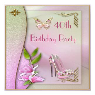 """Zapatos atractivos magnolia y cumpleaños de la invitación 5.25"""" x 5.25"""""""