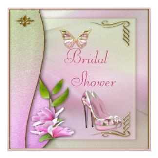 """Zapatos atractivos magnolia y ducha nupcial de la invitación 5.25"""" x 5.25"""""""