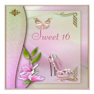 """Zapatos atractivos magnolia y dulce 16 de la invitación 5.25"""" x 5.25"""""""