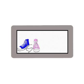 Zapatos azules/dirección rosada del correo del bod etiqueta de dirección