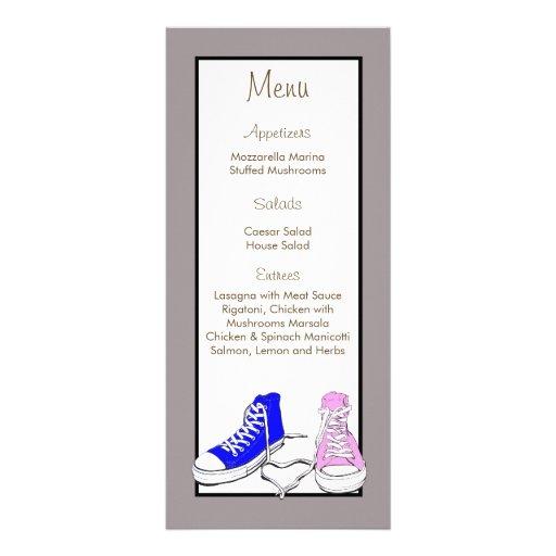 Zapatos azules/etiquetas rosadas del menú del boda lona publicitaria