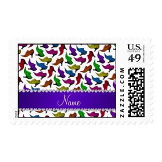 Zapatos blancos conocidos personalizados del timbres postales