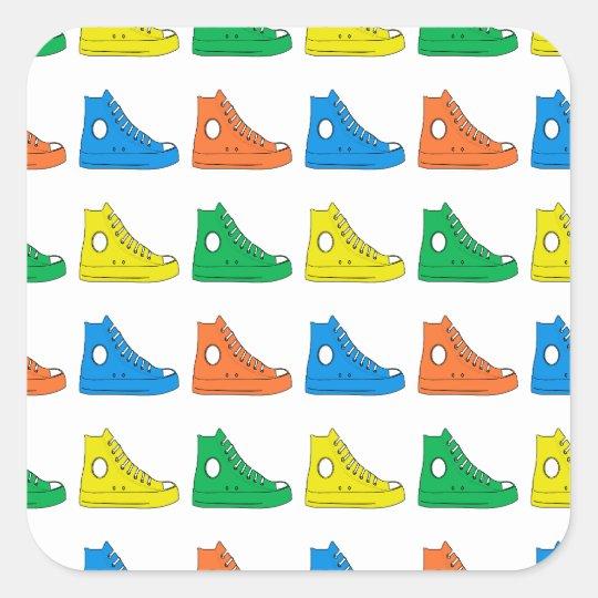 Zapatos coloridos pegatina cuadrada