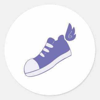 Zapatos cons alas pegatina redonda