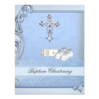 Zapatos cruzados azules de la biblia del damasco invitación 10,8 x 13,9 cm