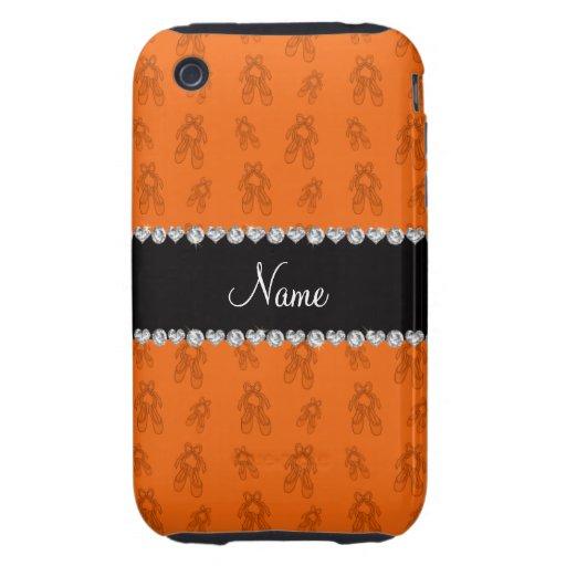 Zapatos de ballet anaranjados conocidos de encargo tough iPhone 3 fundas