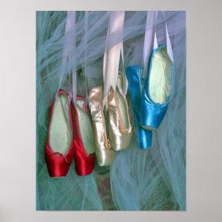 Zapatos de ballet coloridos póster