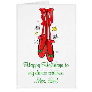 Zapatos de ballet del navidad del profesor de la d tarjeta