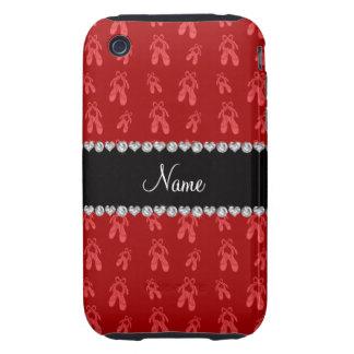 Zapatos de ballet rojos conocidos de encargo tough iPhone 3 fundas