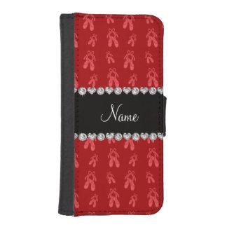 Zapatos de ballet rojos conocidos de encargo fundas cartera de iPhone 5