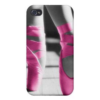 Zapatos de ballet rosados brillantes iPhone 4 funda
