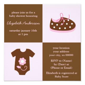 """Zapatos de bebé y fiesta de bienvenida al bebé invitación 5.25"""" x 5.25"""""""